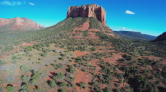 Slow Flying Toward Court House Butte- Sedona Arizona Stock Footage