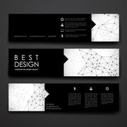 Set of modern design banner template in Molecular structure style Stock Illustration
