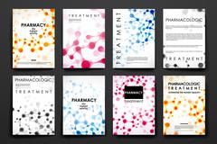 Set of brochure, poster design templates in DNA molecule style Stock Illustration