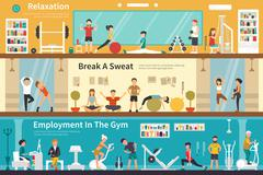 Relaxation Break A Sweat Employment In The Gym flat interior outdoor concept web Stock Illustration