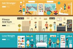 Get Stronger Fitness And Gym Lose Weight flat interior outdoor concept web Stock Illustration