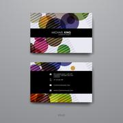 Set of Design Business Card Template in abstract background style Stock Illustration