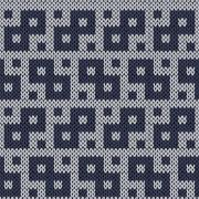 Knitting geometrical seamless pattern in muted blue hues Stock Illustration
