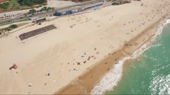 Aerial Drone shot over beach Cascais Portugal Stock Footage