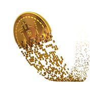 Bitcoin Goes Up After A Fall And Falling Apart To Digits Stock Illustration