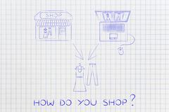 Online shops vs physical store: buying the same items Stock Illustration