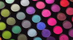 Rotating professional makeup eyeshadows palette Stock Footage