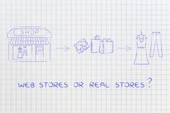Online shops vs physical store: when you buy from brick and mortar place Stock Illustration