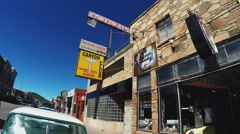 Street Pan To Storefronts In Historic Downtown Williams Arizona Stock Footage