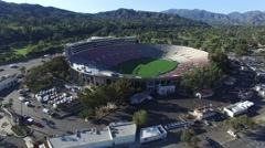 Lovely aerial shot flying towards the Rose Bowl in Pasadena, California Stock Footage