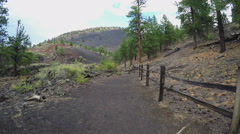 POV Walking Sunset Crater National Monument Trail- Fast Motion Stock Footage