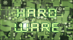 Hardware Concept with illuminated green futuristic circuit board Stock Footage