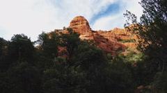 Rock Tower Over Fay Canyon Forest- Sedona Arizona Stock Footage