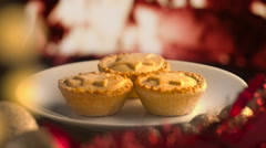 Christmas Pies by Fire Stock Footage