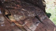Rock Face Close Up Pan To Fay Canyon Wide- Sedona AZ Stock Footage