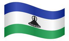 Flag of Lesotho waving on white background Stock Illustration