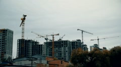 Time lapse of constuction site with cranes Stock Footage