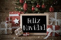 Nostalgic Tree, Snowflakes, Feliz Navidad Means Merry Christmas Kuvituskuvat
