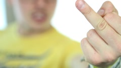 Hand sign middle finger Stock Footage