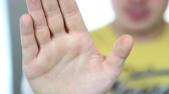 Hand sign STOP Stock Footage