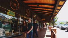 Walking Past Souvenir Shops- Uptown Sedona Arizona Stock Footage