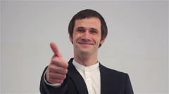 Thumbs up by Successful Businessman Stock Footage
