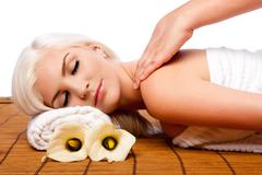 Relaxation pampering shoulder massage spa Stock Photos
