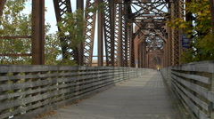 Fredericton New Brunswick Walking Bridge. Stock Footage