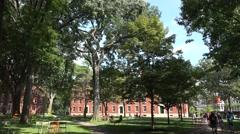 General view of Harvard Yard, Harvard University, Cambridge, MA. Stock Footage