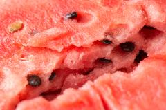 Ripe watermelon flesh closeup macro texture background Stock Photos