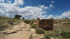 Walking To Lomaki American Indian Ruins- Wupatki National Monument Stock Footage