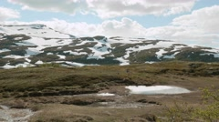 Hiking in Norway. Two backpackers. Stock Footage