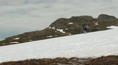 Hiking on the snow in Norway. Stock Footage