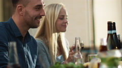 Group of Mixed Race People Having Fun, Celebrating and Raising Glasses at Family Stock Footage