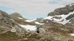 Hiking in the Norwegian mountains. Stock Footage