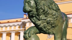 Old monument sentry lion at the Admiralty waterfront in St. Petersburg Stock Footage
