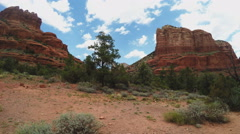 Court House Butte Pan To Bell Rock- Sedona Arizona Stock Footage