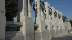 World War II Memorial, State Pillars; New York in foreground. Stock Footage