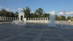 WW II Memorial plaza, fountain and Atlantic Victory Pavilion Stock Footage