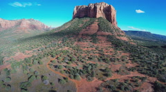 Hovering Aerial Camera- Court House Butte- Sedona Arizona Stock Footage