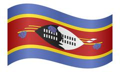Flag of Swaziland waving on white background Stock Illustration