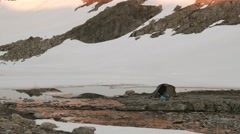 Camping in the Norwegian mountains. Smooth dolly shot. Stock Footage