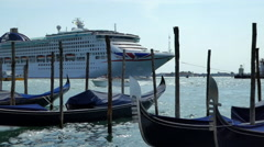 Traditional gondolas of Venice and Cruise chip. The Recreation and Entertainment Stock Footage