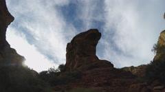 Rocky Tower Against The Sky- Fay Canyon Sedona AZ Stock Footage