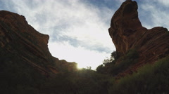 Rock Tower Pan To Canyon Wall- Fay Canyon- Sedona AZ Stock Footage