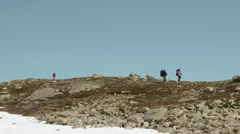 Tourists in the Norwegian mountains. Stock Footage