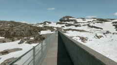 Dam in the Norwegian mountains.. Stock Footage