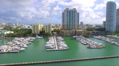 Aerial drone Miami Beach Marina Stock Footage