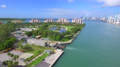 Aerial video Fisher Island golf resort Stock Footage