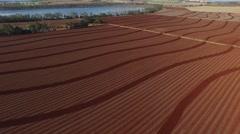 Aerial of Plattern Plowed Paddocks with Red Soil Stock Footage